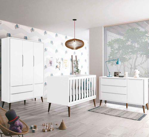 Imagem de Cômoda Infantil com Sapateira Théo Retrô Branco Fosco com Pés madeira - Reller