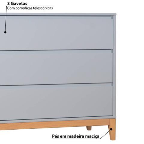 Imagem de Cômoda Infantil Slim 3 Gavetas com Pés de Madeira - Cinza