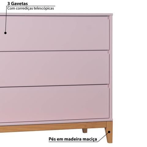 Imagem de Cômoda Infantil Slim 3 Gavetas com Pés de Madeira - Rosa Claro