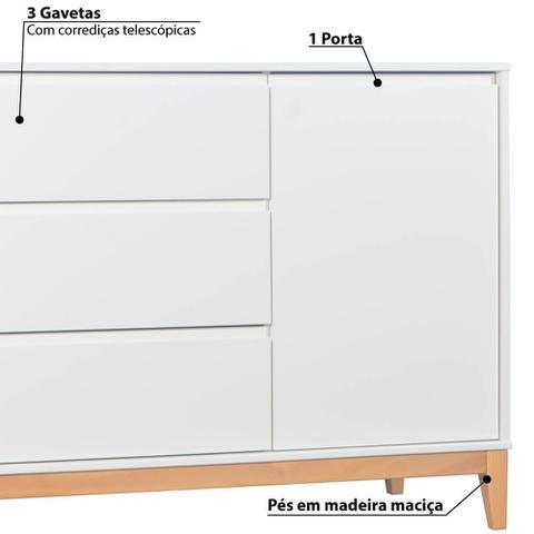 Imagem de Cômoda Infantil Slim 3 Gavetas e 1 Porta Branco