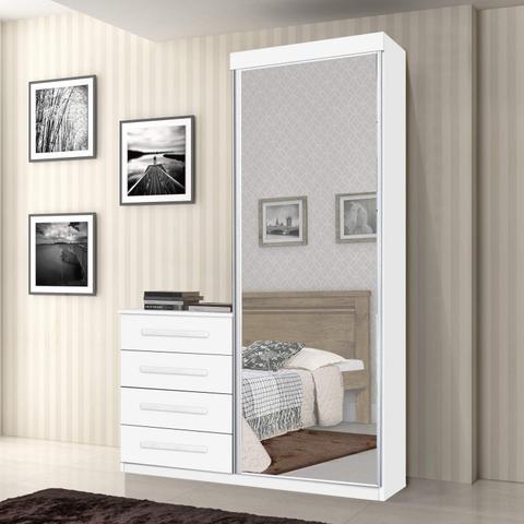 Imagem de Cômoda Multiuso com Espelho 1 Porta 4 Gavetas Thor JA Móveis Branco