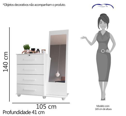 Imagem de Cômoda Trento 4 Gavetas Com Espelho - Cedro - Móveis Albatroz
