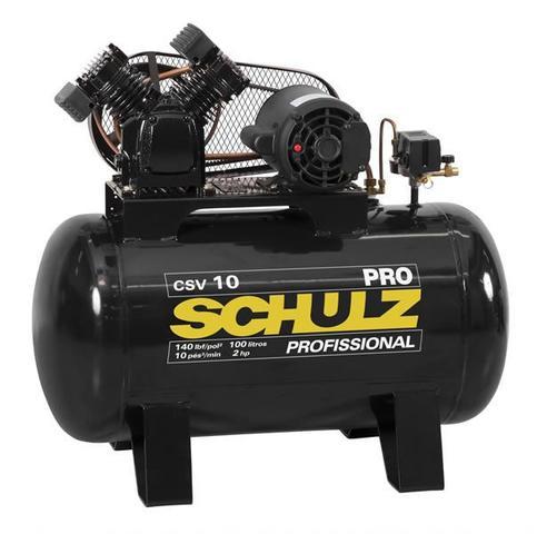Imagem de Compressor de ar csv10/100l 10 pes 140psi 110v monofasico linha pro - schulz