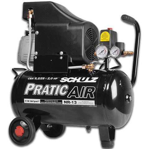 Imagem de Compressor De Ar Pratic Air 8,2 Pés 25 Litros + Kit Para Compressor Gamma