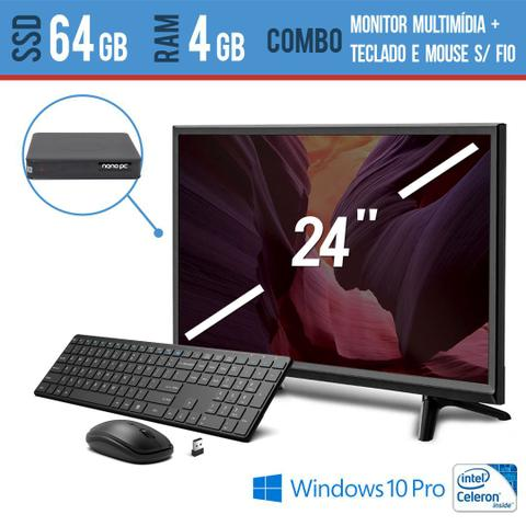 Imagem de Computador all in one 24pol 4gb  windows pro com ssd teclado e mouse sem fio