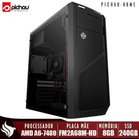 Imagem de Computador Completo Pichau, AMD A6-7480, 8GB DDR3, SSD 240GB, 500W + Monitor