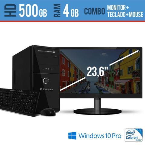 Imagem de Computador Desktop com Monitor 23,5 HDMI  Processador Intel Celeron 4GB HD 500 Windows Pro