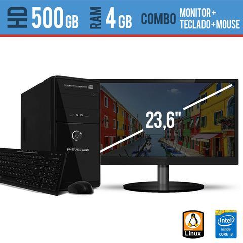 Imagem de Computador Desktop com Monitor 23,5 HDMI  Processador Intel I3 4GB HD 500 Linux