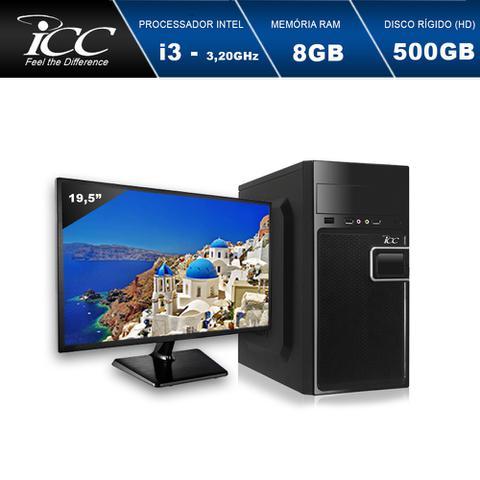 Imagem de Computador Desktop ICC IV2381W-M19 Intel Core I3 3.10 ghz 8gb HD 500GB HDMI FULL HD Monitor LED 19,5
