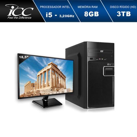 Imagem de Computador Desktop ICC IV2584DWM18 Intel Core I5 3.20 ghz 8GB HD 3TB DVDR HDMI FULL HD Monitor LED 18,5