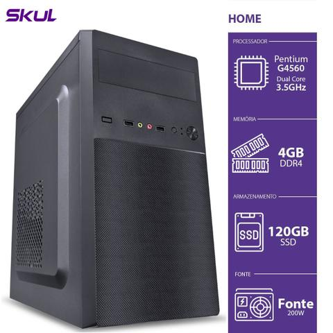 Desktop Skul Business H200 Hg45601204 Pentium G4560 3.50ghz 4gb 120gb Intel Hd Graphics Linux