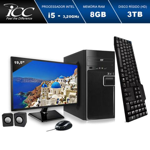 Imagem de Computador ICC IV2584CWM19 Intel Core I5 3.20ghz 8GB HD 3TB DVDRW Kit Multimídia Monitor LED 19,5