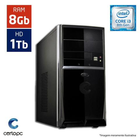 Desktop Certo Pc Smart 1013 I3-8100 3.60ghz 8gb 1tb Intel Hd Graphics Linux Sem Monitor