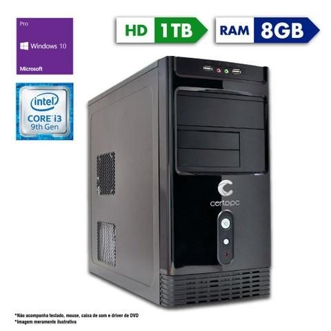 Desktop Certo Pc Smart 1224 I3-9100 3.60ghz 8gb 1tb Intel Hd Graphics Windows 10 Pro