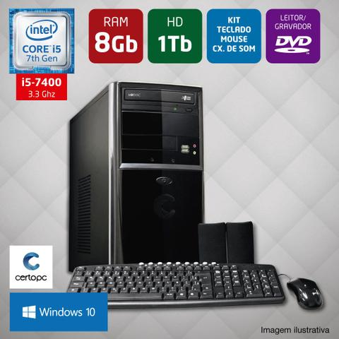 Imagem de Computador Intel Core i5 7ª Geração 8GB HD 1TB DVD Windows 10 Certo PC SELECT 034