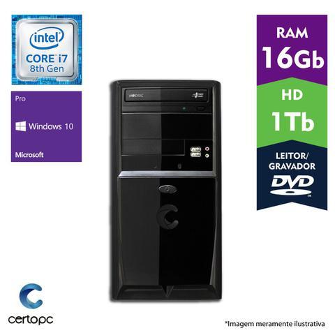 Desktop Certo Pc Desempenho 1006 I7-8700 4.0ghz 16gb 1tb Intel Hd Graphics Windows 10 Sem Monitor