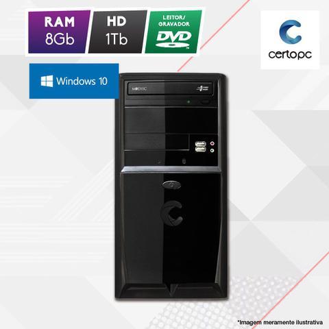 Desktop Certo Pc Fit1078 Celeron J1800 2.41ghz 8gb 1tb Intel Hd Graphics Windows 10 Pro Sem Monitor
