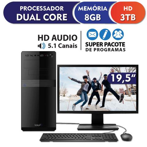 Imagem de Computador Intel Dual Core 8GB 3TB com Monitor LED 19.5 HDMI e USB 3.0 EasyPC Standard