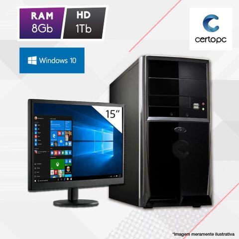 Desktop Certo Pc Fit1085 Celeron J1800 2.41ghz 8gb 1tb Intel Hd Graphics Windows 10 Pro Com Monitor