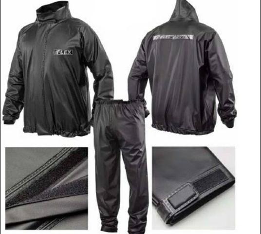 Imagem de Conj capa de chuva motociclista flex pvc PP preto Delta