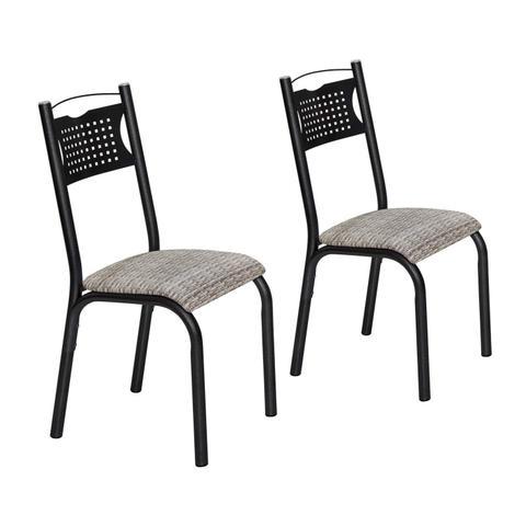 Imagem de Conjunto 2 Cadeiras Aço Poeme Clássica Ciplafe Preto/Junco Manteiga