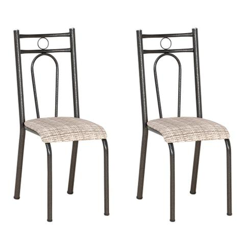 Imagem de Conjunto 2 Cadeiras Hanumam Cromo Preto e Estampa Rattan
