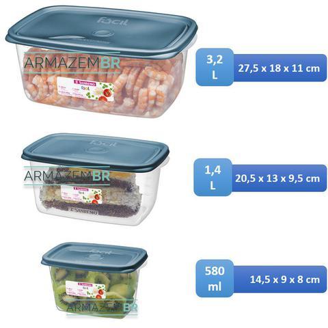 Imagem de Conjunto 3 Potes Hermético Plástico Alimentos Mantimentos Geladeira - 190/6C Sanremo