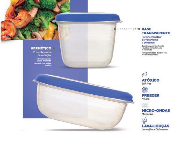 Imagem de Conjunto 3 Potes Herméticos Porta Alimentos Geladeira Cozinha Flor - 712 Sanremo