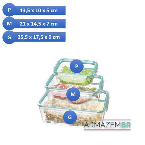 Imagem de Conjunto 3 Potes Herméticos Porta Alimentos Geladeira Cozinha - SR1741 Sanremo