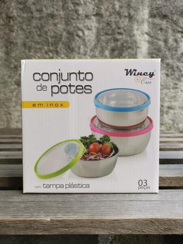 Imagem de Conjunto 3 Potes Inox Com Tampa Guardar Alimentos Geladeira