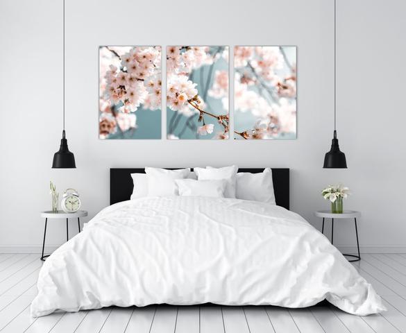Imagem de Conjunto 3 Quadros Decorativo Cherry Blossom Galho de Cerejeira Florido / Arvore Sakura