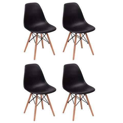 Imagem de Conjunto 4 Cadeiras Charles Eames Eiffel Wood Base Madeira - Preta