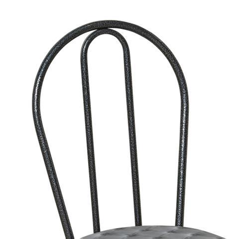 Imagem de Conjunto 4 Cadeiras Cromo Preto e Estampa Capitonê