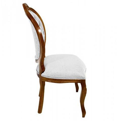 Imagem de Conjunto 4 Cadeiras de Jantar Medalhão Entalhada Capitonê Mel Fosco com Veludo Amassado Off White