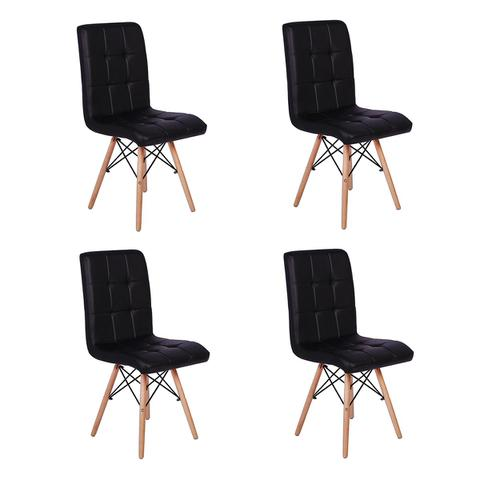 Imagem de Conjunto 4 Cadeiras Eiffel Gomos Estofada Base Madeira - Preta