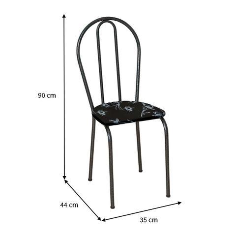 Imagem de Conjunto 4 Cadeiras Hécate Cromo Preto e Preto Flor
