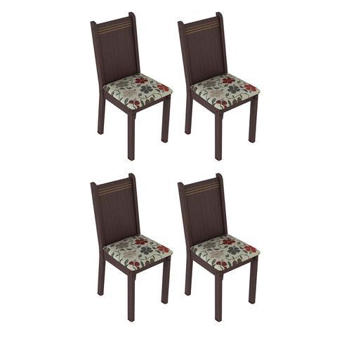 Imagem de Conjunto 4 Cadeiras Lucy Madesa Tabaco/ Floral Hibiscos