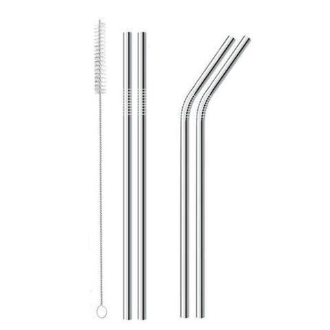 Imagem de Conjunto 4 canudos de inox reutilizáveis com escova mimo style