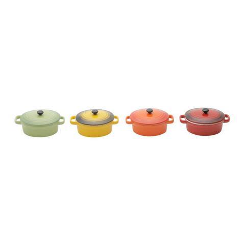 Imagem de Conjunto 4 Mini Panelas Ovais de Porcelana Colorida com Tampa 15cmx8cm Rojemac
