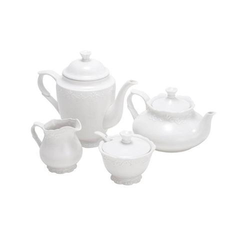 Imagem de Conjunto 4 Peças de Chá de Porcelana Alto Relevo Completo Açucareiro Leiteira Chaleira e Cafeteira Rojemac