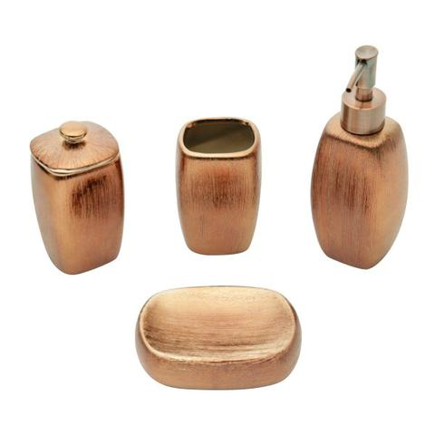 Imagem de Conjunto 4 peças para banheiro de cerâmica bronze Lux Prestige - 26847