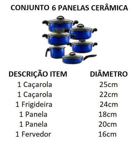 Imagem de Conjunto 6 Panelas Cerâmica Tampa de Vidro fogão a gás cooktop indução lenha - Doce Lar
