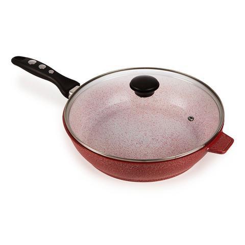 Imagem de Conjunto 6 Panelas Forno Fogão Premium Revestidas em Cerâmica Antiaderente e Alum. Fundido Vermelha