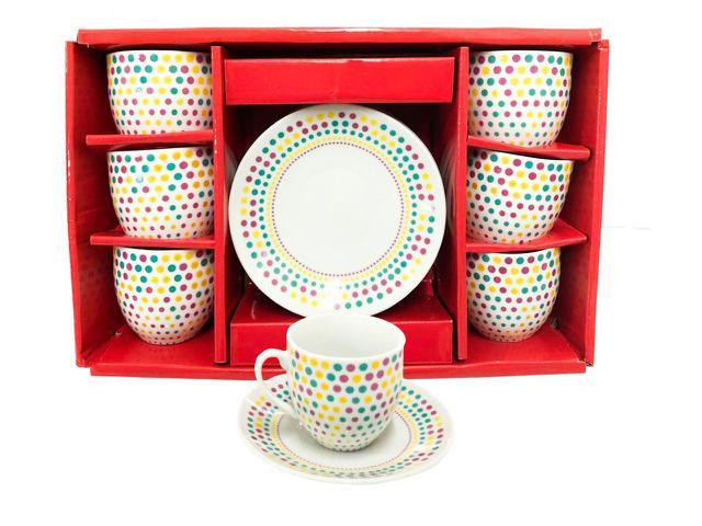Imagem de Conjunto 6 Xícara com Pires para cafe de Cerâmica