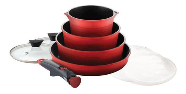 Imagem de Conjunto assadeiras 4 peças midas al injetado vermelho ec-md-04r