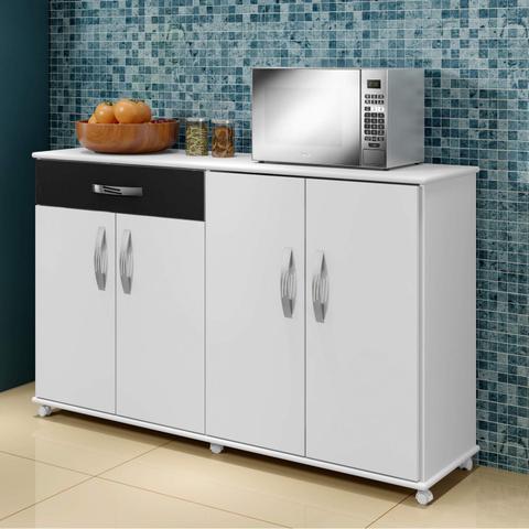 Imagem de Conjunto Balcão de Cozinha com Tampo e 2 Armários Aéreos Arte Móveis Branco