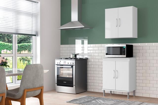 Imagem de Conjunto Balcão Microondas Cozinha Armario 2 Portas