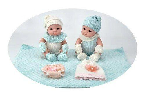 Imagem de Conjunto Boneca Bebês Recém Nascidos Gêmeos Tipo Bebê Reborn