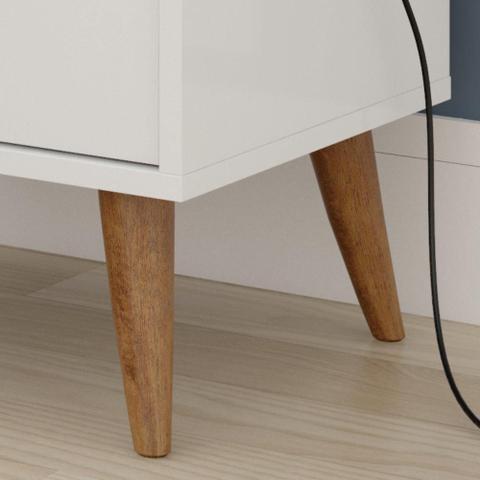 Imagem de Conjunto Cabeceira Box Queen 1 60 Bella Areia / Kit 2 mesa de cabeceira Domus Branco - RPM Móveis