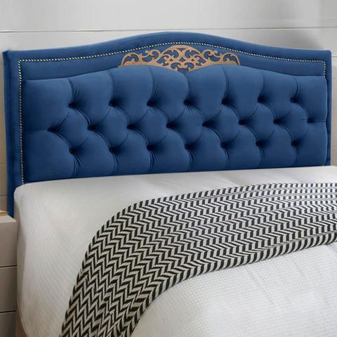 Imagem de Conjunto Cabeceira Estofado Yasmim + Recamier Bau Yasmim 160 Cm Para Cama Queen Size Quarto Suede Azul Marinho - Amarena